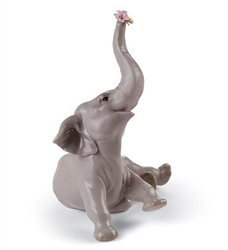 Lladro Sale Porcelain Baby Elephant with Pink Flower 010.08491 Worldwide - Lladro Elephant