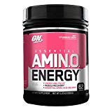 Optimum Nutrition Essential Amino Energy, Juicy Strawberry Burst, Preworkout and Postworkout Recovery with Essential Amino Acids and Caffeine from Natural Sources, 62 Servings, 1.23 lb, Pack of ()