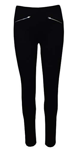 Zipper Leggings Pants - Super Comfy Stretch Pull On Millenium Pants B8029 Black S