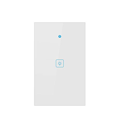 Smart Wi-Fi Light Switch, Works With Alexa Google Home IFTTT, iOS Android Smartphone Wireless Control, No Hub Required, Timer Function, Touch Switch On Off, Voice Control,In-Wall (One ()