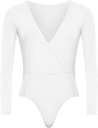 WearAll Plus Size Women's Wrap V Neck Long Sleeve Bodysuit Top - White - US 20-22 (UK -