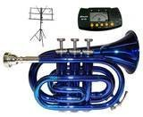Merano WD480BL B Pocket Trumpet with Case, Mouth Piece, Metro Tuner and Black Music Stand, Flat Blue/Silver