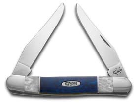 (CASE XX White Pearl and Blue Silk Corelon Muskrat Stainless Pocket Knife Knives)