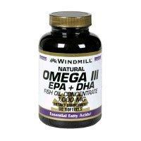 Windmill Oméga 3 EPA 180 Softgels et huile de poisson DHA Concentrez-1000 Milligrammes Windmill Vitamines Complément alimentaire de perte de poids sur la santé cardiovasculaire acides gras essentiels. Obtenez les acides gras quotidiennes votre corps a bes