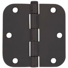 Cosmas Flat Black Door Hinge 3.5'' Inch x 3.5'' Inch with 5/8'' Inch Radius Corners