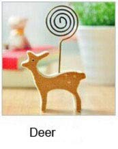 ZAMTAC 1pcs Animal Shape Wooden Memo Pincer Clips Ram Elephant Swing Horse Deer Paper Photo Clip Holder Small Clamps Card Stand Peg - (Color: Deer)