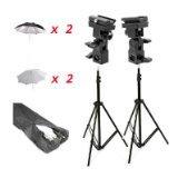CowboyStudio Doulbe Off-Camera Flash Shoe Mount Swivel Umbrella Kit for Select Nikon/Canon Models