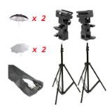 CowboyStudio Doulbe Off-Camera Flash Shoe Mount Swivel Umbrella Kit for Select Nikon/Canon Models (Kit Camera For Flash Canon)