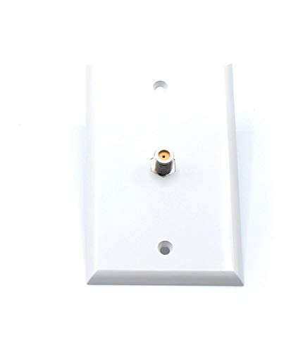 THE CIMPLE CO White Video Wall Jack for Coax Cable F Type Coaxial Wallplate (Wall Plate) – 3 GHz Coupler Approved for Comcast, DIRECTV, Dish Network, and Antennas (4 Pack)