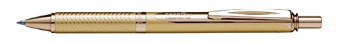 Pentel EnerGel Alloy RT Retractable Liquid Roller Gel Pen - Metal Barrel 0.7mm - Gold Body Blue Ink (Refillable Pentel Metal Pen)