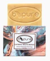 B-PURE OATMEAL MILK & HONEY BATH SOAP, NATURAL, MADE WITH ORGANIC INGREDIENTS, HYDRATING CLEANSER FOR FACE & BODY, FRAGRANCE FREE, HANDCRAFTED SOAP BAR MADE WITH FRESH GOAT MILK