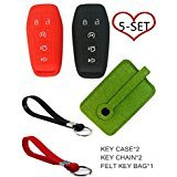 Silicone Smart Key Fob Cover Case Shell Car Key Jacket Keyless Entry Remote Protective Case Skin Cover With Key Bag Holder Key Chain for 2015-2016 Ford Fusion Mustang F-150-350-250-450-550 Super Duty