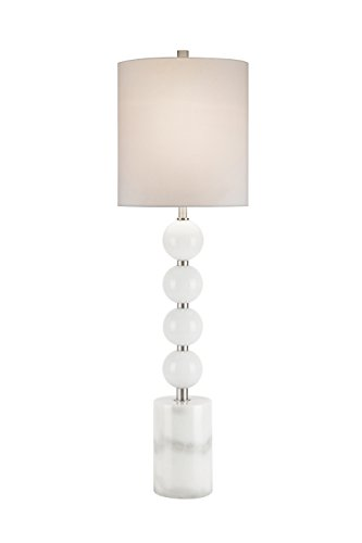 Catalina Lighting 20425-001 Alana Transitional Catalina White Glass & Natural Marble Buffet Table Lampwhite Marble,Brushed Nickel - Marble Buffet Lamp