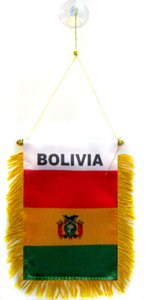 AZ FLAG Bolivia Mini Banner 6'' x 4'' - Bolivian Pennant 15 x 10 cm - Mini Banners 4x6 inch Suction Cup Hanger