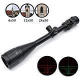 GOTICAL 6-24x50 AOE Riflescope R&G illuminated Riflescope Reticle sniper Hunting Scope Heavy Duty Rifle Scope by GOTICAL