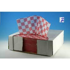 """110840 McNairn Dry Wax Basket Liner Sheets 12"""" X 12"""", Red Check 2000 per case"""