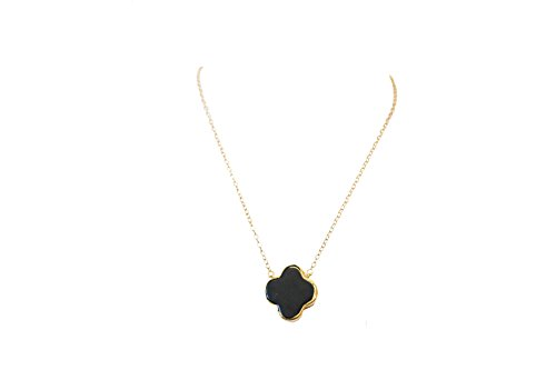 Lucky Gemstone Four Leaf Clover Charm Pendant Necklace in 24K Gold - Birthday, Wedding, Anniversary, Engagement, Bridal Party Christmas X-mas Gifts Holiday Thanksgiving New Year (Black Onyx)