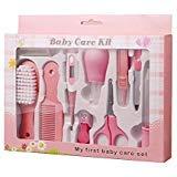 PEPECARE Baby Grooming Kit 10pcs Newborn Nursery Health care Set Baby Nail Clipper File Scissor Tweezer Thermometer Brush Comb (Pink)