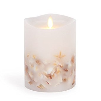 Darice Luminara® Flameless Pillar Candle with Seashells - White Wax - 4 x 5 inches ()