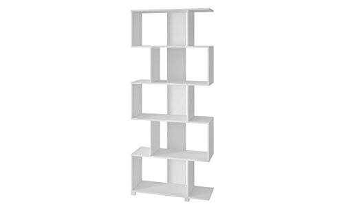 Manhattan Comfort Petrolina Collection Modern Decorative Free Standing Open Z-Shelf Style Bookcase, White