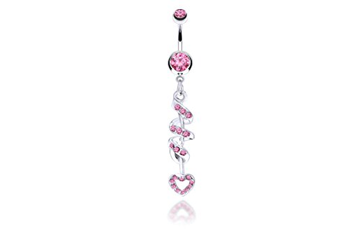 Heart Multigem Spiral Dangle Hypoallergenic Surgical Steel 14G 3/8 bar Length Belly Button Rings With Cubic Zirconia Stones (Pink) (Non Piercing Jewels)