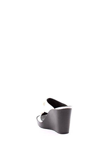 Cafè Noir Donna Ciabatta con pietre incastonate, su zeppa, HE025, BIANCO/NERO, 36