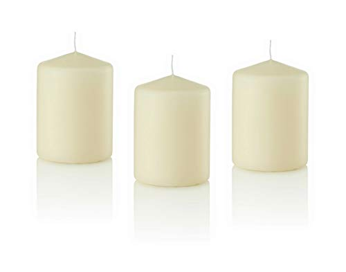 D'light Online 3 X 4 Pillar Candles Bulk Event Pack Round Unscented Ivory Pillar Candles Qty 12 - (Ivory)