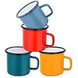 E-far Coffee Mug, 12 Ounce Enamel Coffee Tea Camping Cup Mugs, Red/Yellow / Blue/Green, Healthy & Bright Colors - Set of 4 ()