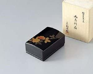 越前塗 山茶花 名刺箱(小) 黒