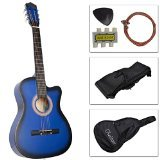 38'' Inch Student Beginner Blue Acoustic Cutaway Guitar with Carrying Case & Accessories & DirectlyCheap(TM) Translucent Blue Medium Guitar Pick
