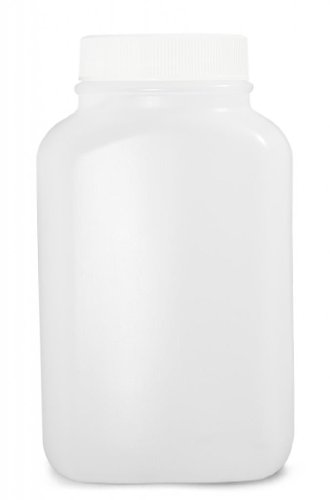 Qorpak PLC-03484 Natural HDPE Wide Mouth Oblong Bottle with 43-400 White Polypropylene Unlined Cap, 17oz Capacity, 85mm OD x 142mm Height (Case of 160)