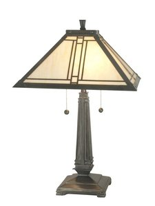 Dale Tiffany TT70735 Lined Mission Table Lamp, Antique Brass and Art Glass Shade ()