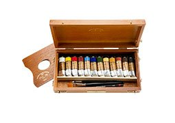 Charvin Extra Fine Oil Color Wooden Box Set of 12 20 ml Tubes - Assorted Colors by Charvin Extra Fine Colours