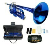 4 valve trumpet - Merano B Flat BLUE / Silver Trumpet with Case+Mouth Piece+Valve Oil+Metro Tuner