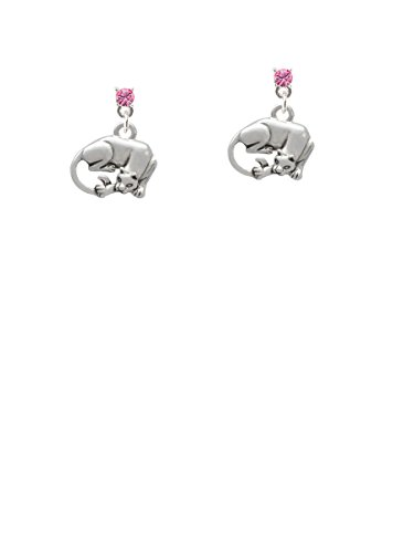 Pink Panther Ears (Panther Hot Pink Crystal Post Earrings)