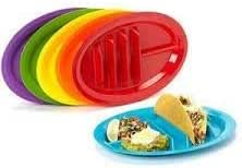 Jarratt Industries Fiesta Taco Holder Plate Microwave and Dishwasher Safe Set of 6 Taco Plates, Made in the USA