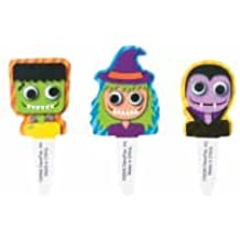 CLEARANCE FREE STANDARD SHIPPING - Frankenstein Witch Dracula Flexi-Picks Halloween Cupcake Toppers - Pack of 24 - We Ship Within 1 Business Day!