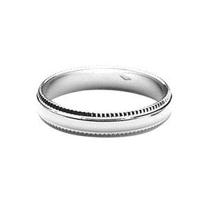 1001 Bijoux - Alliance argent rhodié ciselée contour 4mm