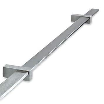 Handlaufst/ützen Wandhandlauf flach modern geschliffen 125cm Edelstahl Handlauf Set Profil 40x10 mm inkl