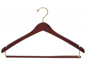 The Great American Hanger Company Wooden Suit Hangers with Locking Pant Bar, Walnut/Brass Finish, Box of 100 by The Great American Hanger Company
