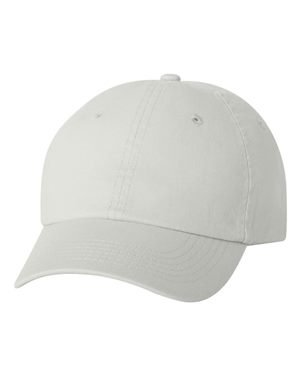 Valucap Youth Bio-Washed Unstructured Cap, White, - Cotton Visor Twill