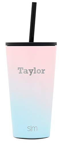 Simple Modern Personalized Gift Tumbler Custom, Classic 16oz - Straw & Flip Lid, Ombre: Sweet Taffy