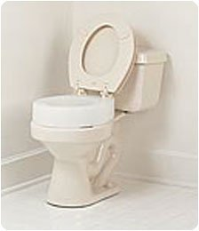 "Carex Elevated Toilet Seat. Standard: 13 1/4""W x 17 3/8""L x"