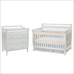 Davinci Emily 4-in-1 Convertible Wood Crib Nursery Set W Toddler Rail In White by Da Vinci