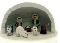 Alaska Eskimo Nativity Mini Igloo Set 8 Piece