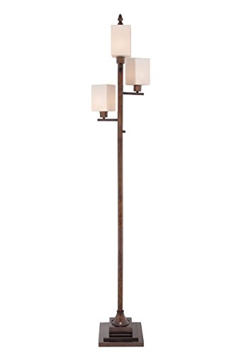 Catalina 19070-001 74-Inch 4-Light Transitional Metal Floor Lamp with Square White Glass Shades and ()