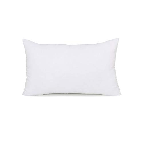 De Lux - 12 x 20 Oblong Cushion Premium Loft Angel Cluster Fiber Blend - Top Hotel Quality Pillow Form Insert Cotton Covered - Machine Washable