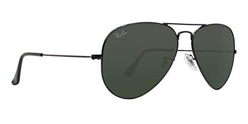 e7dd8ea5b15eaf Amazon.com  Ray Ban RB3025 L2823 58mm Black w  Green Lens Aviator Sunglasses  Bundle-2 Items  Clothing