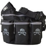 Diaper Dude Messenger Diaper Bag for Dads, Black Skull & Bones