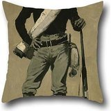 Oil Painting Frederic Remington - U. S. Soldier, Spanish-American War Throw Pillow Case ,best For Kids Room,bar Seat,valentine,valentine,kids,gf 20 X 20 Inches / 50 By 50 Cm(twin Sides) -